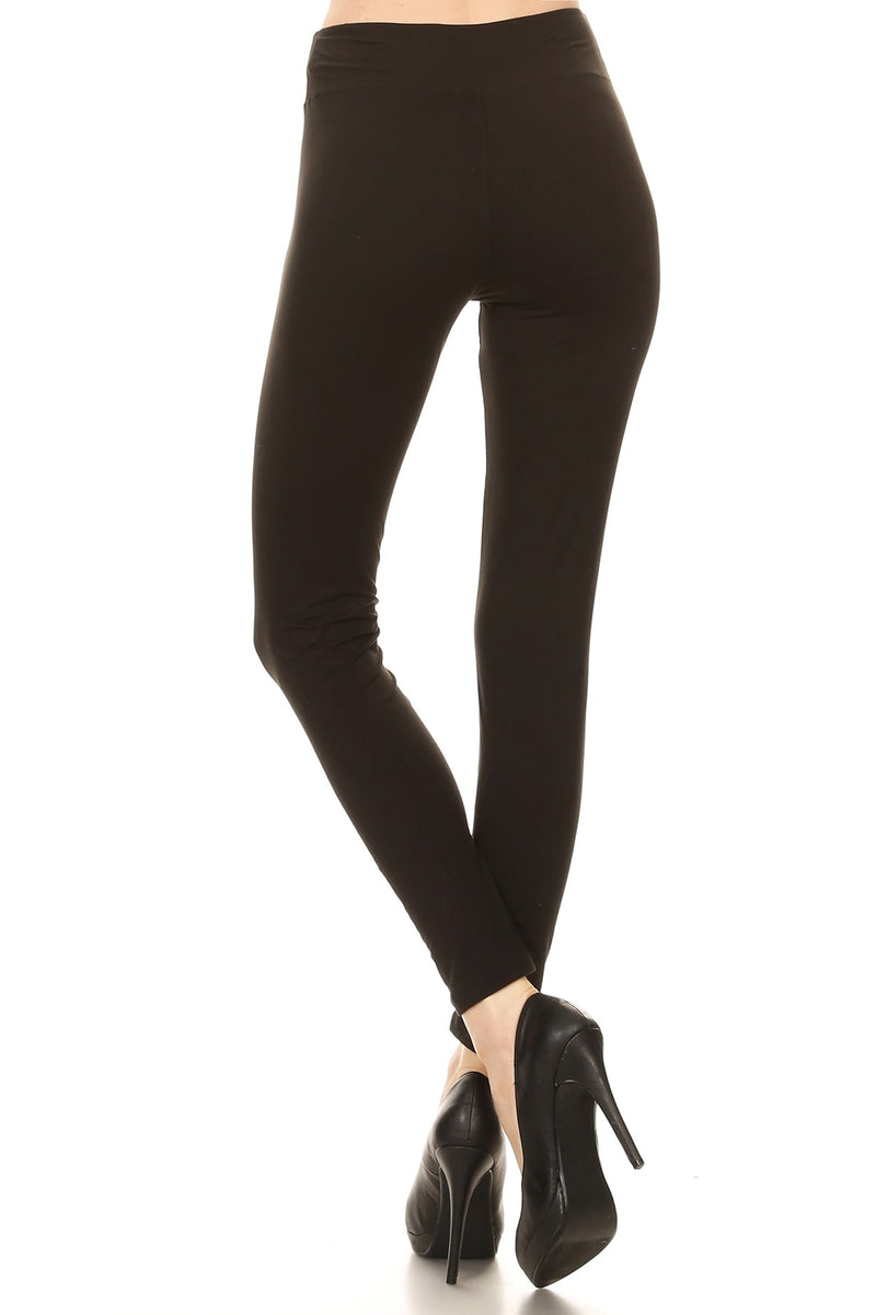 Solid Black Leggings with Yoga Style Waist - Women's One Size