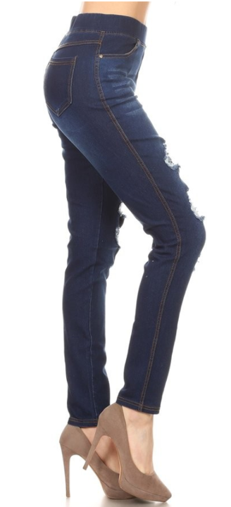 Denim Washed Ripped Jeggings - Women's
