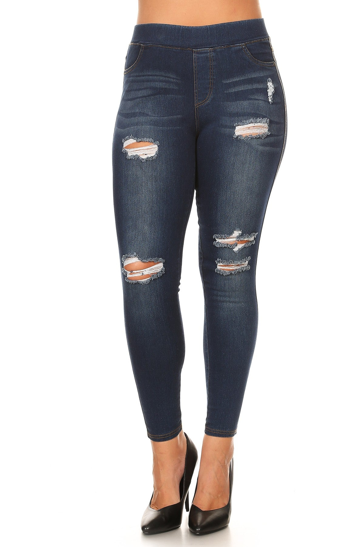 216eb1cc4e1ee Ripped Denim Enzyme Washed Jeggings in Dark Blue - Women s Plus Size –  Apple Girl Boutique