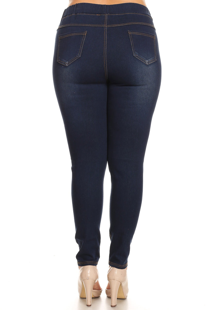 Denim Jeggings in Ultra Dark Blue - Women's Plus Size