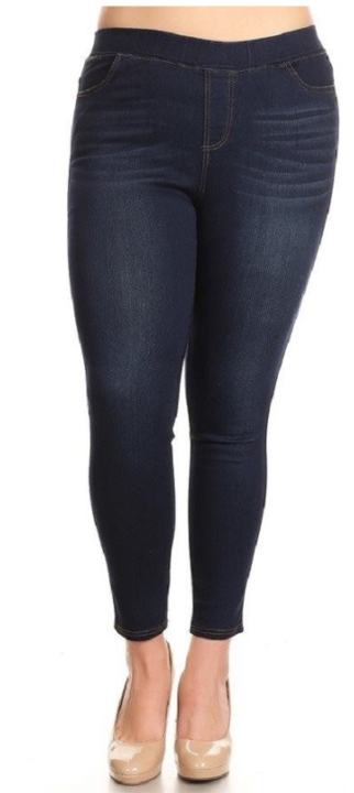 Dark Distressed Denim Jeggings - Women's Plus Size