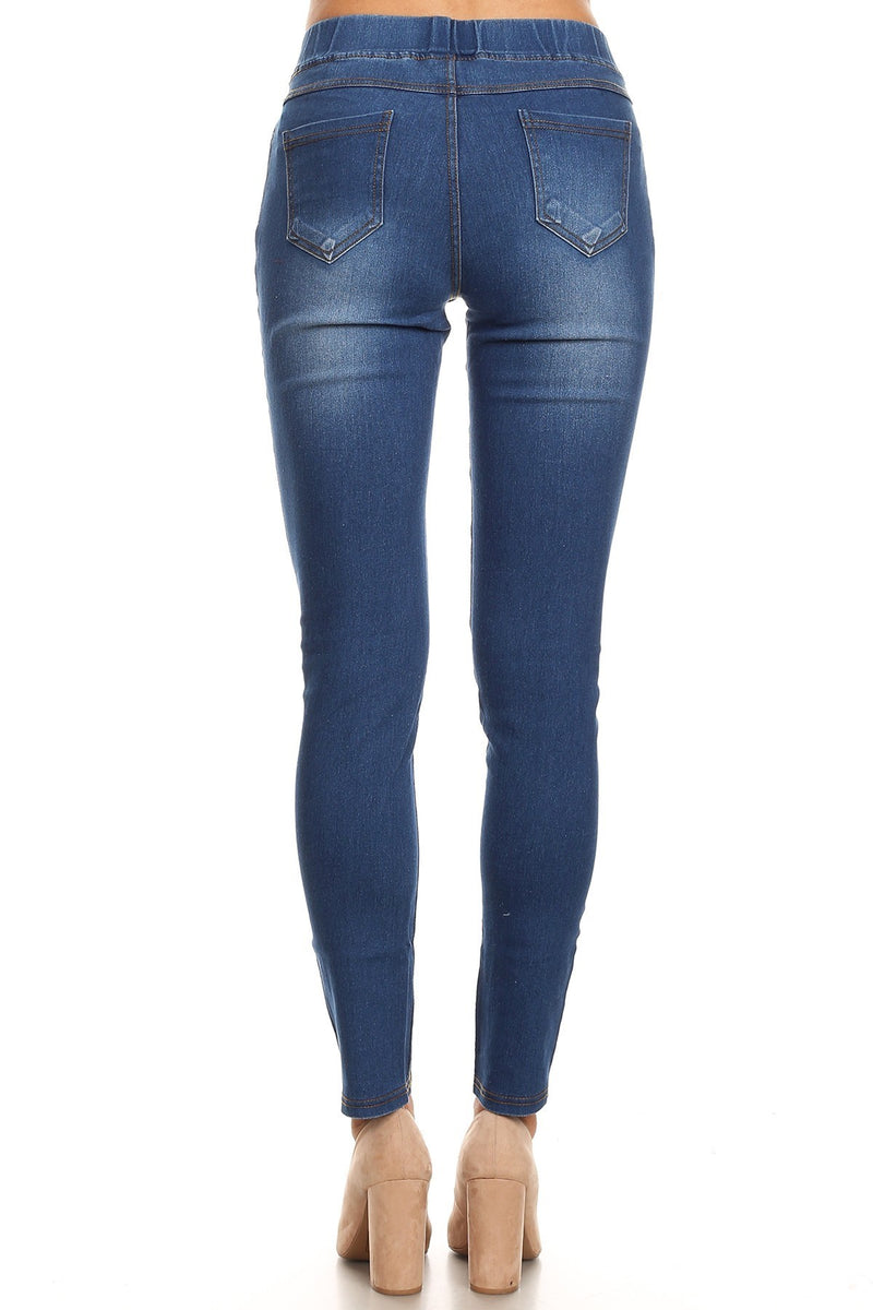 Denim Jeggings in Medium Blue - Women's