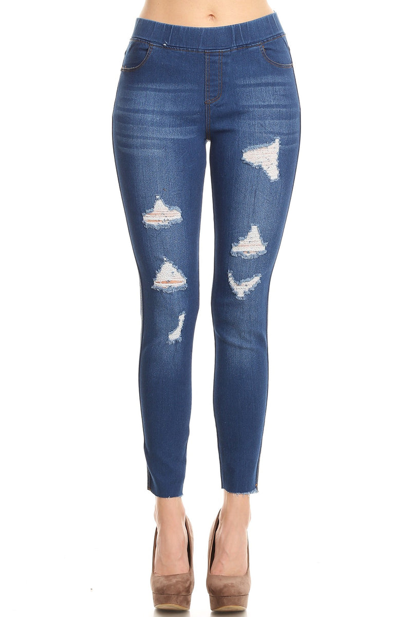 Ripped Denim Jeggings - Women's