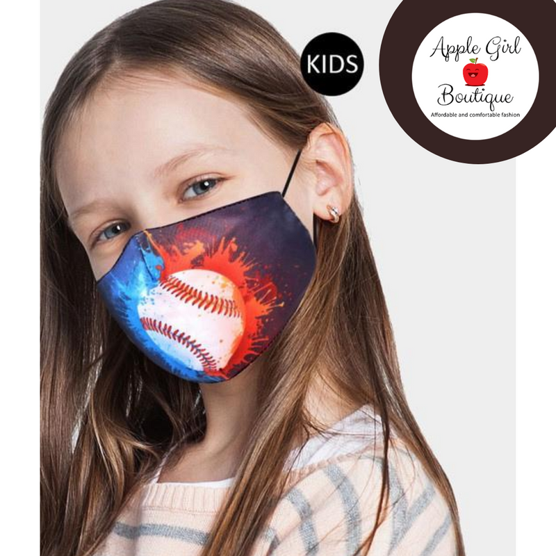 Baseball Themed Face Mask for Kids