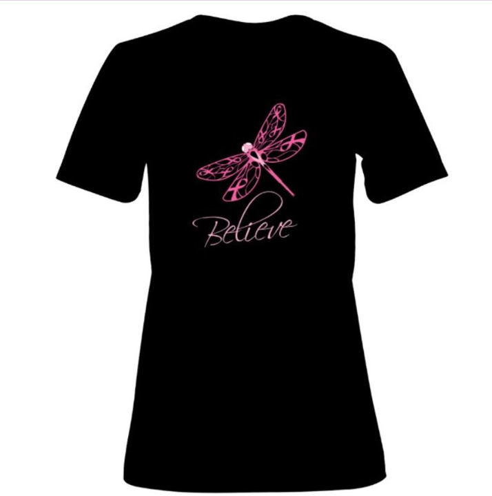 Believe Dragonfly - Breast Cancer Awareness Tee - Unisex Adult