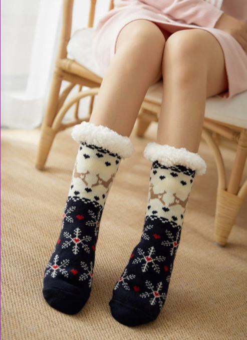 Snowflake & Reindeer Slipper Socks