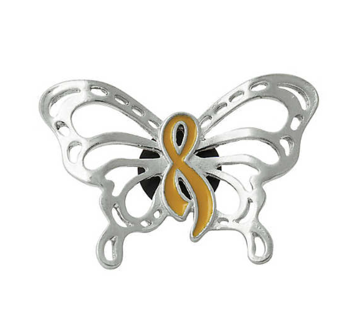Butterfly Gold Ribbon Childhood Cancer Awareness Pins