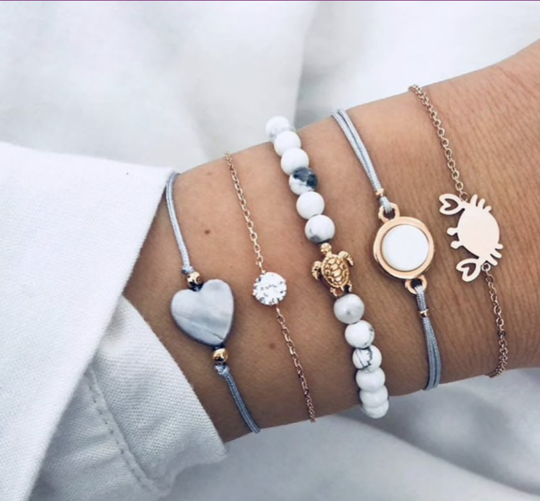 Crab Turtle Heart Summer Bracelet Set