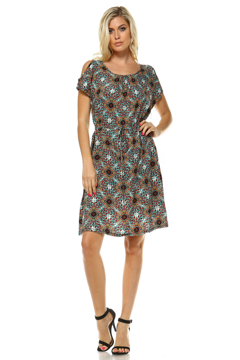 The Savannah - Women's Turquoise Print Cold Shoulder Dress