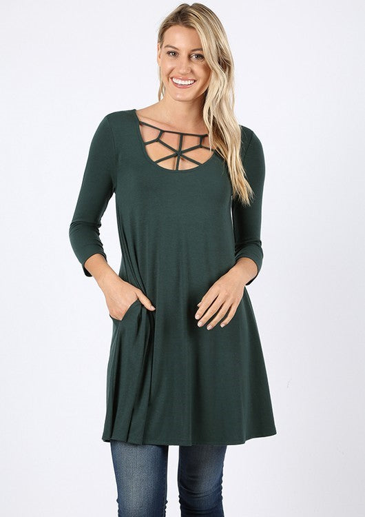 The Emilia - Women's Plus Size Tunic in Hunter Green