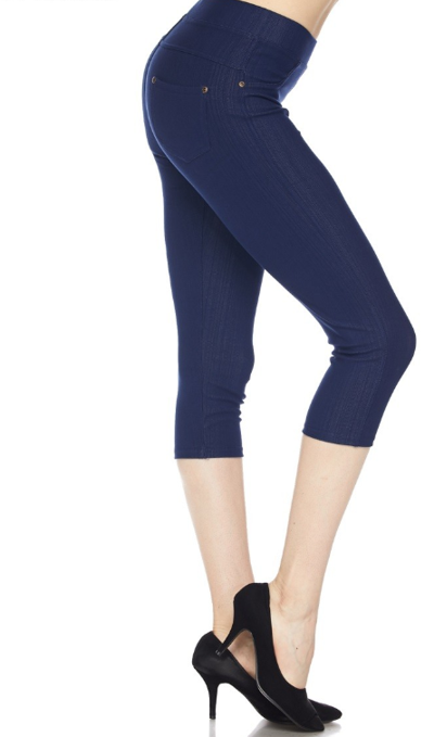 Fashionista Capri Jeggings - Women's Plus Size in Denim Blue