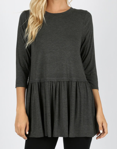 The Felicia - Women's Ruffle Bottom Tunic in Charcoal Gray