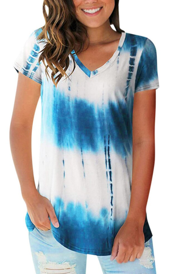 The Felicity in Aqua & White Tie Dye - Women's Top