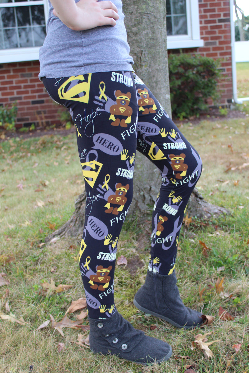 Superhero Fighter - Childhood Cancer Awareness Leggings Women's
