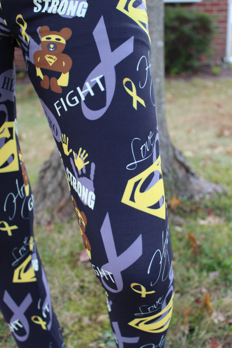 Superhero Fighter - Childhood Cancer Awareness Girls Leggings