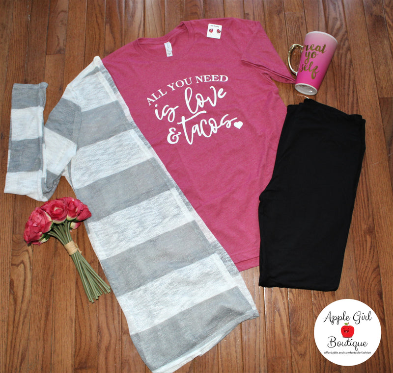 All You Need is Love and Tacos - Women's Top in Raspberry