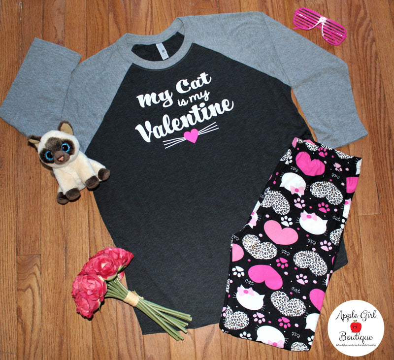 My Cat is My Valentine - Women's Raglan Top