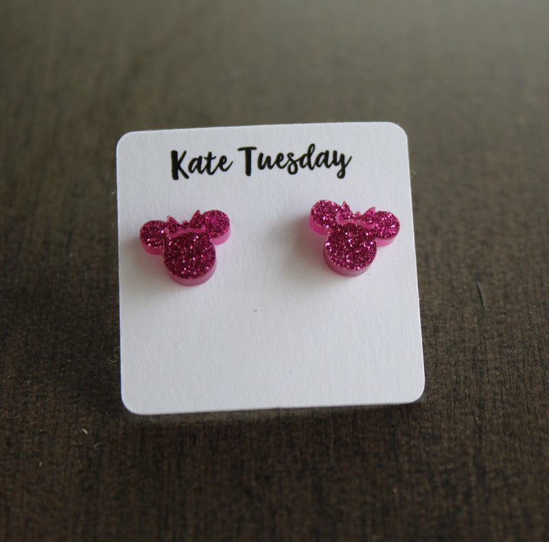 Fuchsia Minnie Mouse Head Stud Earrings