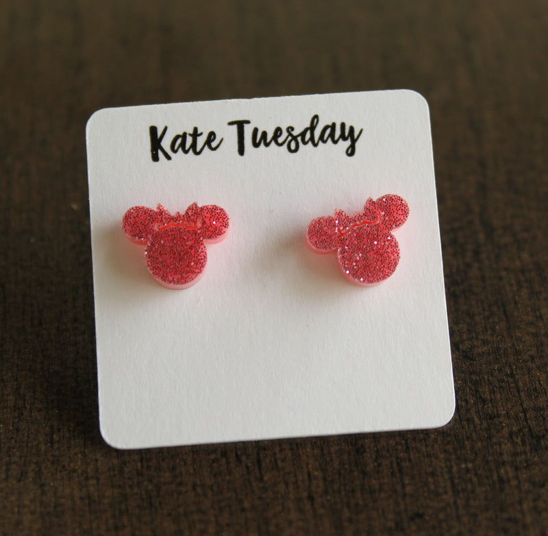 Light Pink Minnie Mouse Head Stud Earrings