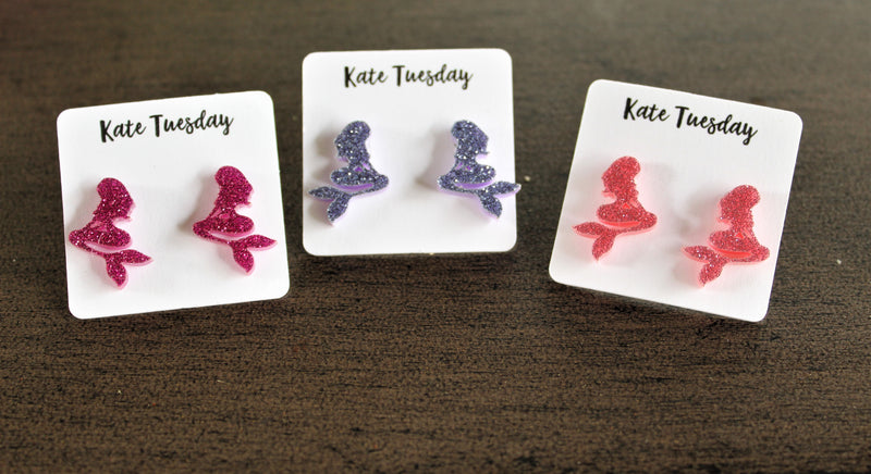 Mermaid Glittery Stud Earrings