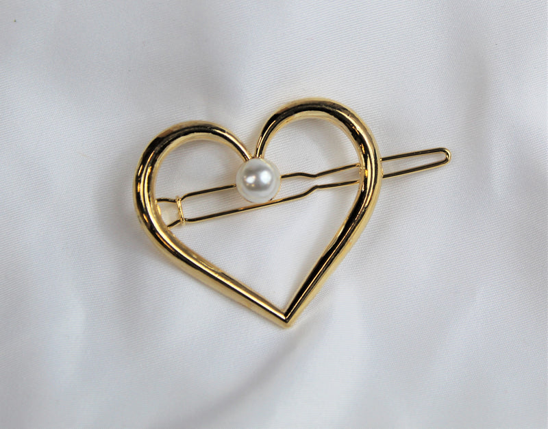 Gold Heart Barrette with Pearl