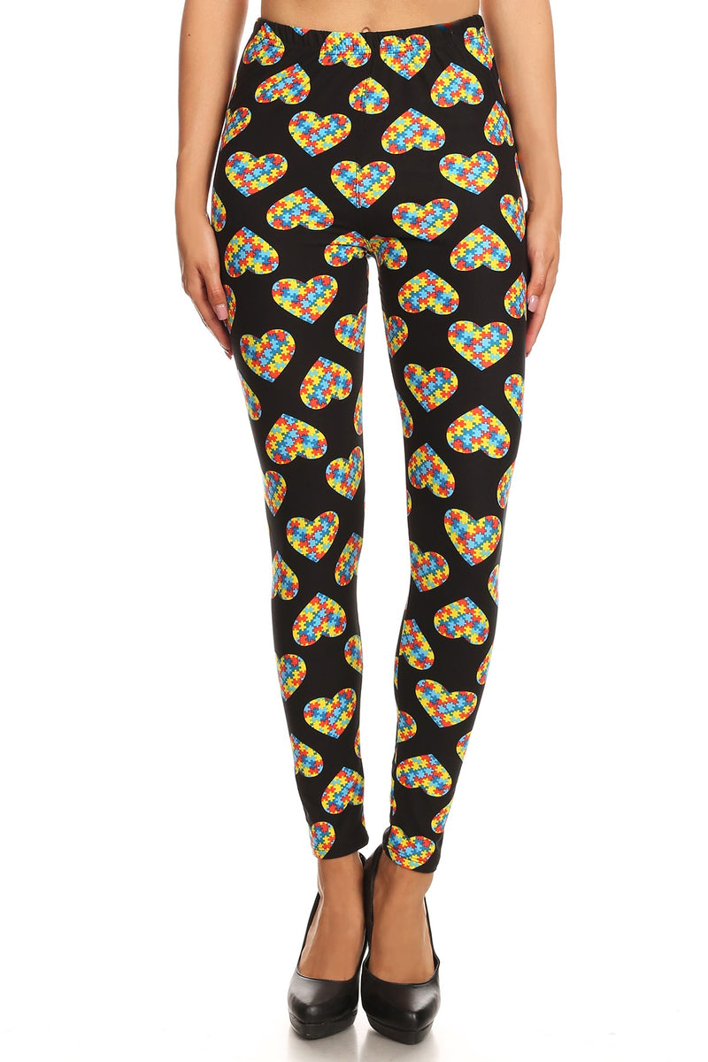 Autism Awareness Heart Leggings - Women's Plus Size
