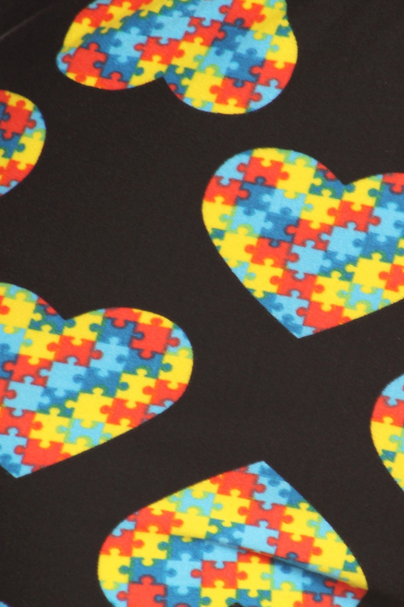 Autism Awareness Heart Leggings - Women's Plus Size 3X-5X