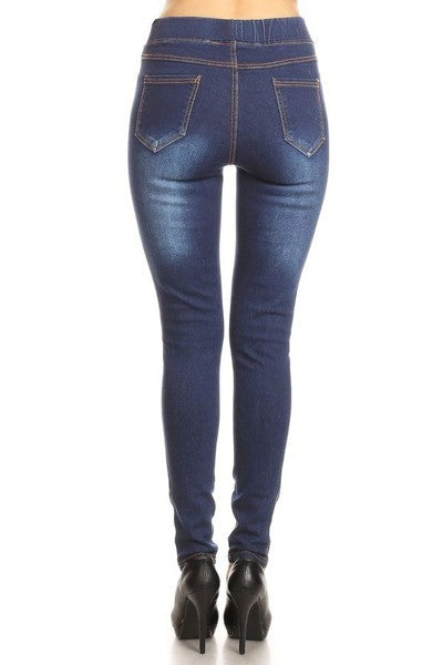 Ripped Denim Jeggings in Medium Blue - Women's