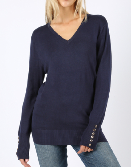 The Jackie - Women's Plus Size V-Neck Sweater in Navy