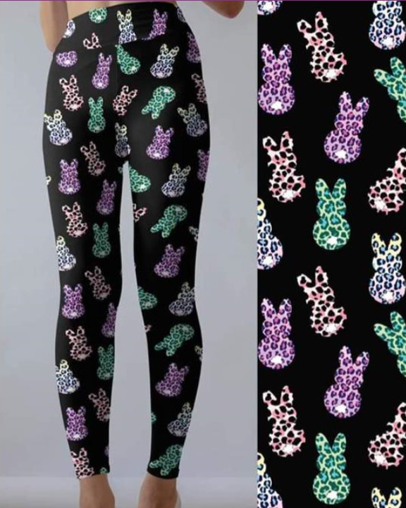 Rainbow Leopard Peeps - Women's Plus TC Size Leggings