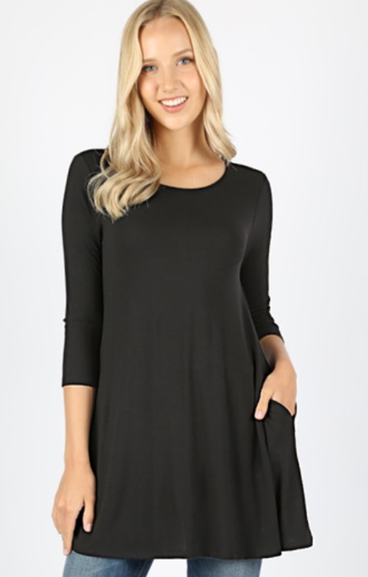 The Lonnie - Women's Plus Size Tunic in Black
