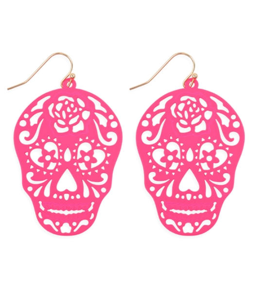 Sugar Skull Metal Filigree Earrings in Hot Pink