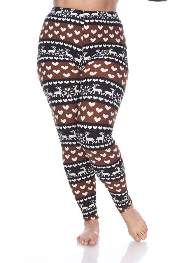 Women's Christmas Reindeer Leggings - Apple Girl Boutique