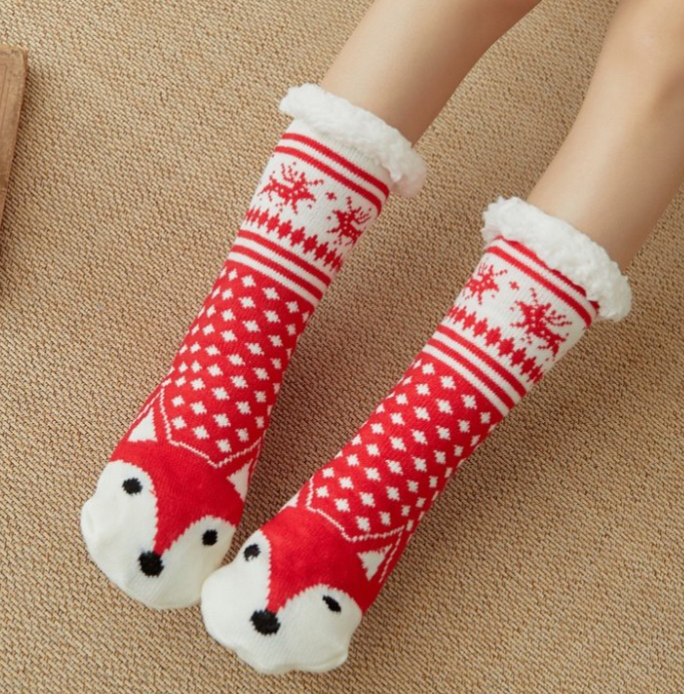 Red Fox Slipper Socks