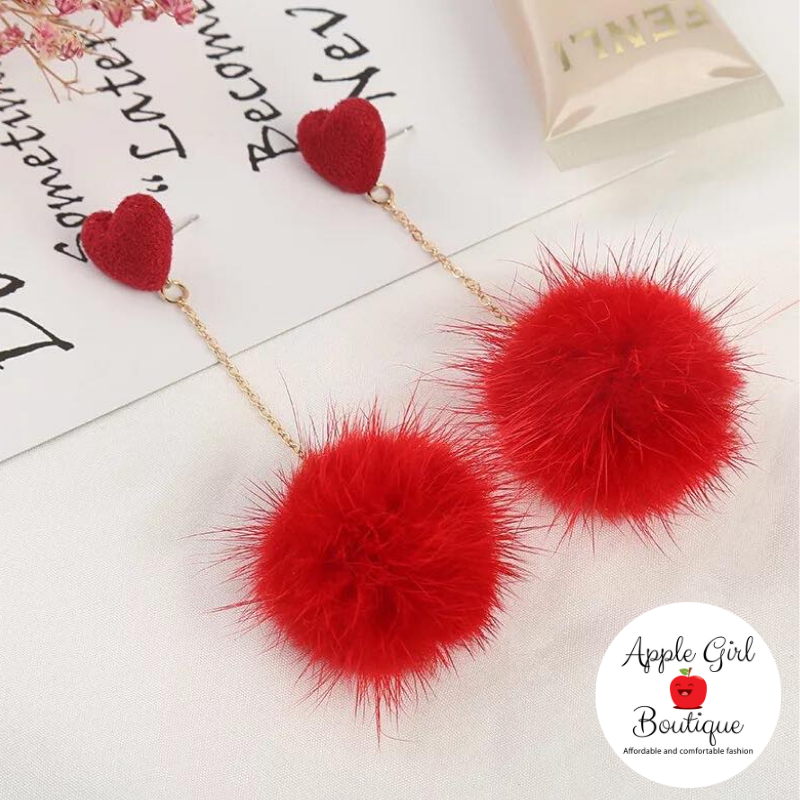 Heart & Pom-Pom Dangle Earrings in Red