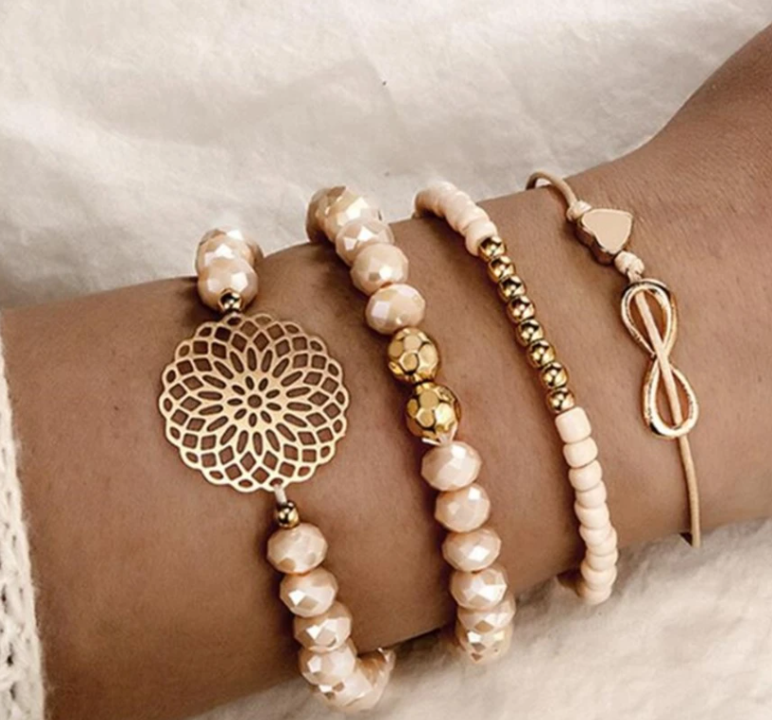 Rose Gold & Cream Medallion Bracelet Set