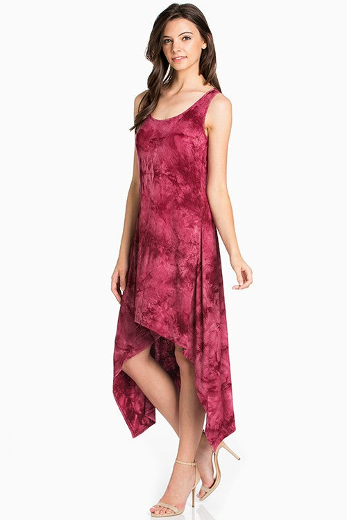 The Demi Tie Dye Dress - Women's in Burgundy