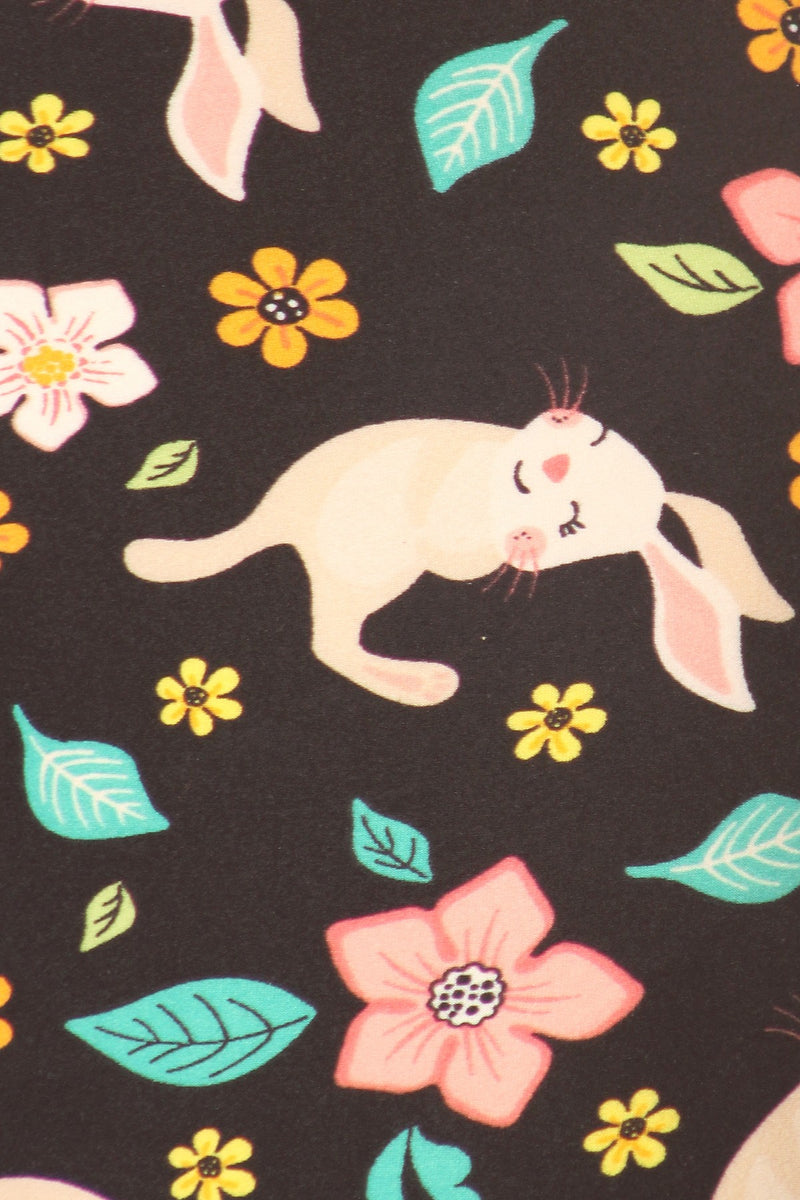 Bunnies in Bloom - Women's One Size Leggings