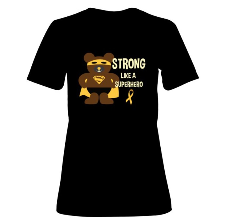 Superhero Bear - Childhood Cancer Awareness Tee - Unisex Adult