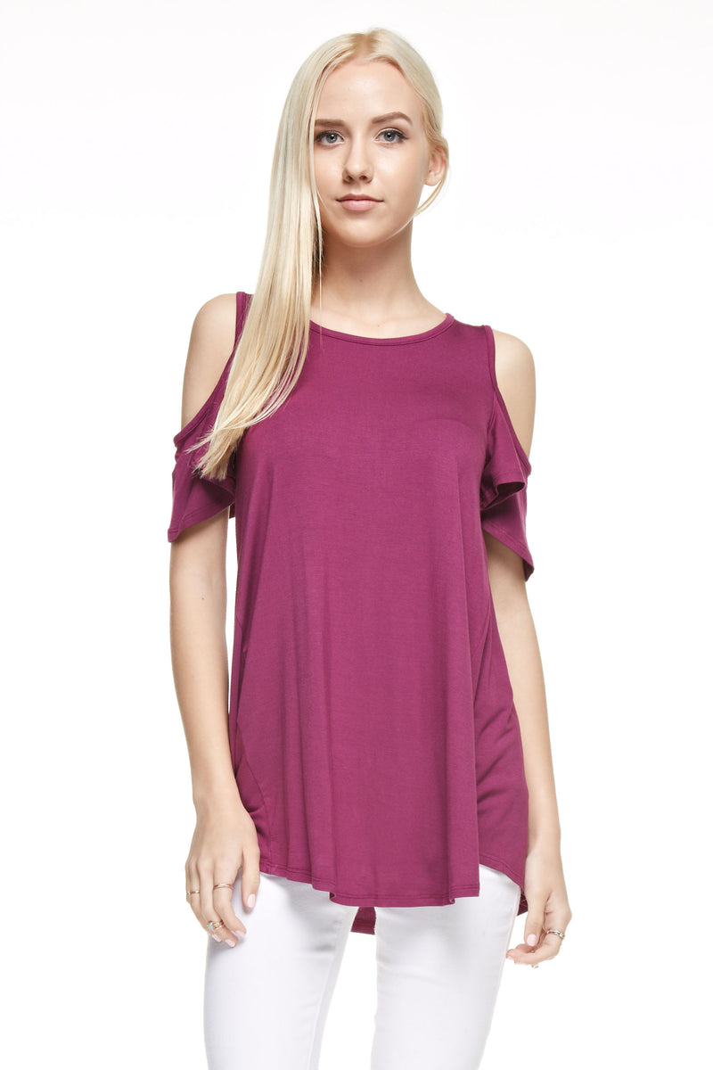 Lil' Becca - Girls Magenta Cold Shoulder Tunic Top