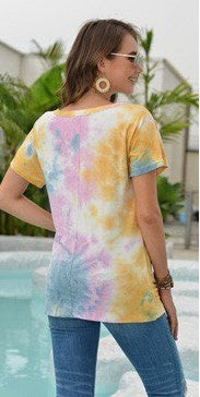 The Amy - Women's Tie Dye Top in Blue/Yellow/Orchid