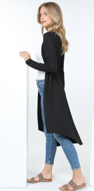 The Angie - Women's Long Cardigan in Black