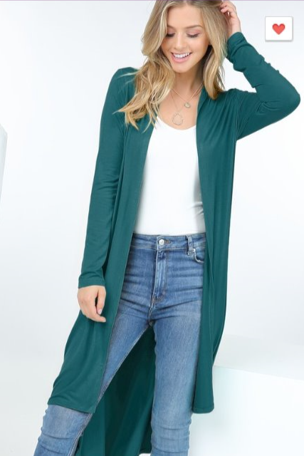 The Angie - Women's Long Cardigan in Dark Teal