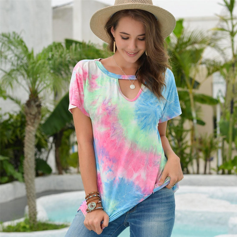 The Amy - Women's Tie Dye Top in Blue/Pink/White