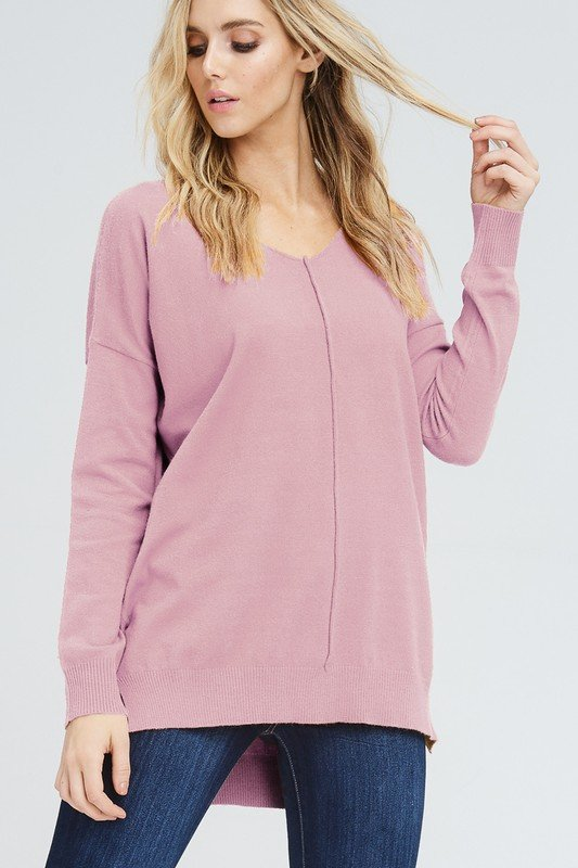The Marnie - Women's Lightweight Plus Size Sweater in Blush