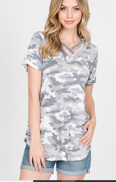The Avery  - Women's Plus Size Camo Top