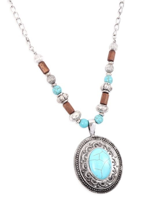 Aztec Oval Metal Turquoise Beaded Necklace