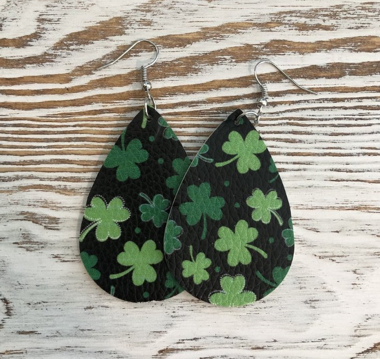 Black or White Faux Leather Clover Earrings