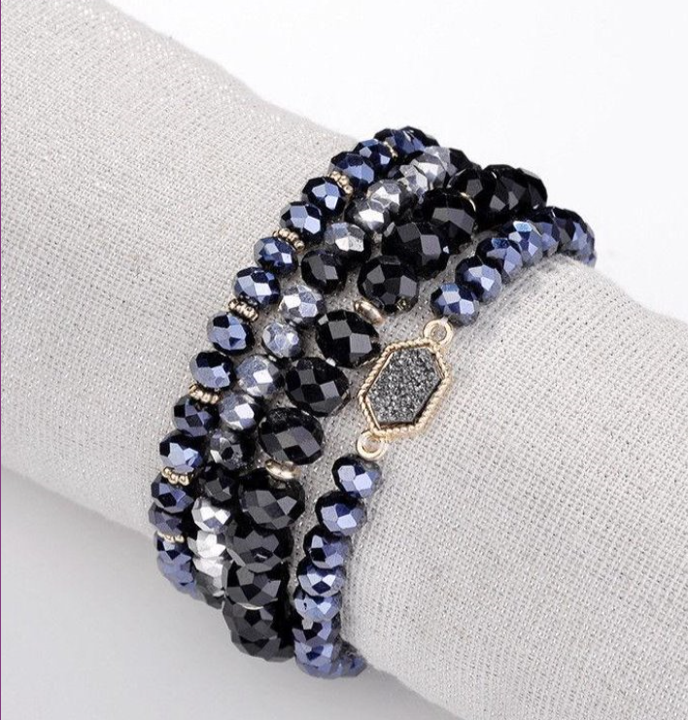 Black Gun Metal Druzy Bracelet Set
