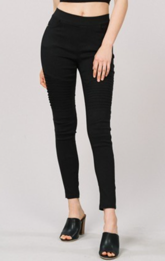 Moto Stretch Jeggings in Black - Women's Plus Size